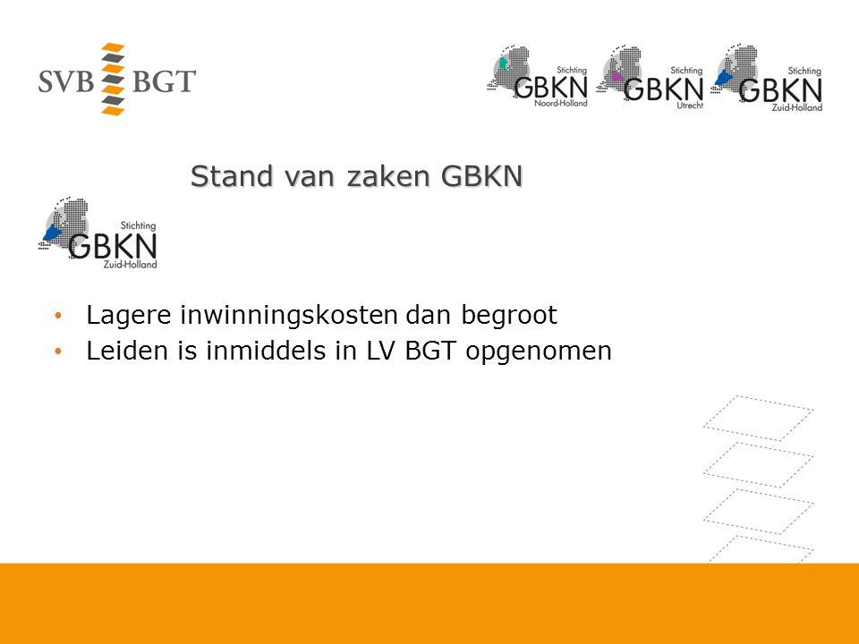 Stand van zaken GBKN Lagere inwinningskosten dan begroot Leiden is inmiddels in LV BGT opgenomen