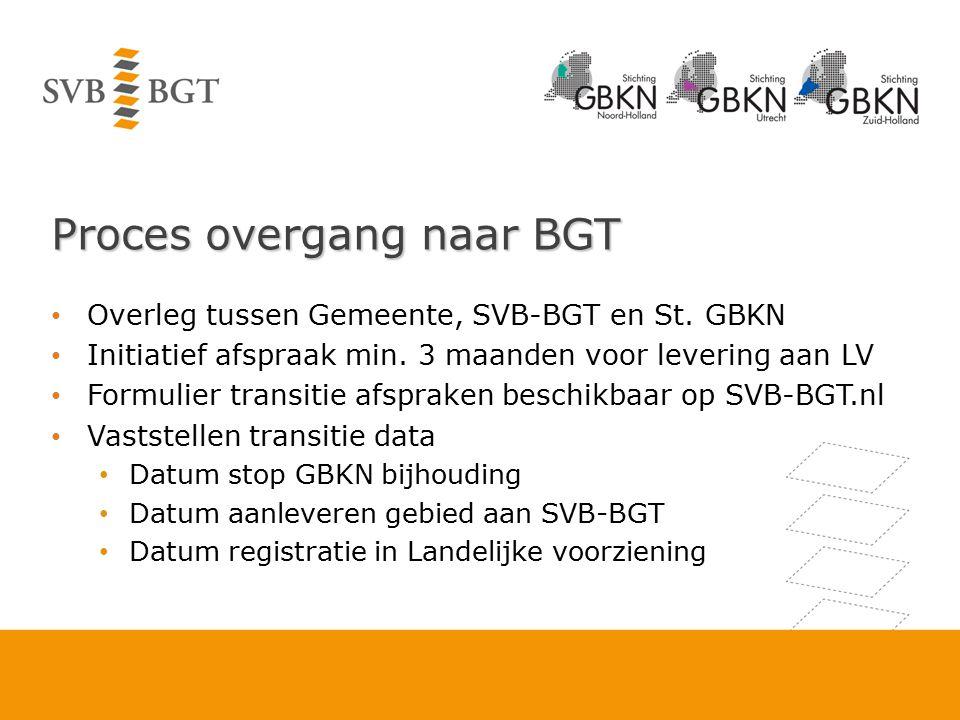 Proces overgang naar BGT Overleg tussen Gemeente, SVB-BGT en St. GBKN Initiatief afspraak min. 3 maanden voor levering aan LV Formulier transitie afsp