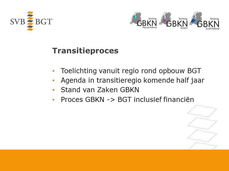 Transitieproces Toelichting vanuit regio rond opbouw BGT Agenda in transitieregio komende half jaar Stand van Zaken GBKN Proces GBKN -> BGT inclusief