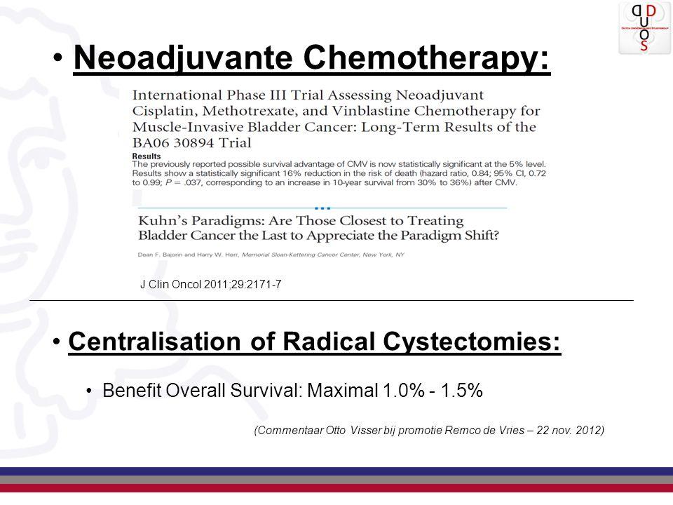 Neoadjuvante Chemotherapy: J Clin Oncol 2011;29:2171-7 Centralisation of Radical Cystectomies: Benefit Overall Survival: Maximal 1.0% - 1.5% (Commentaar Otto Visser bij promotie Remco de Vries – 22 nov.