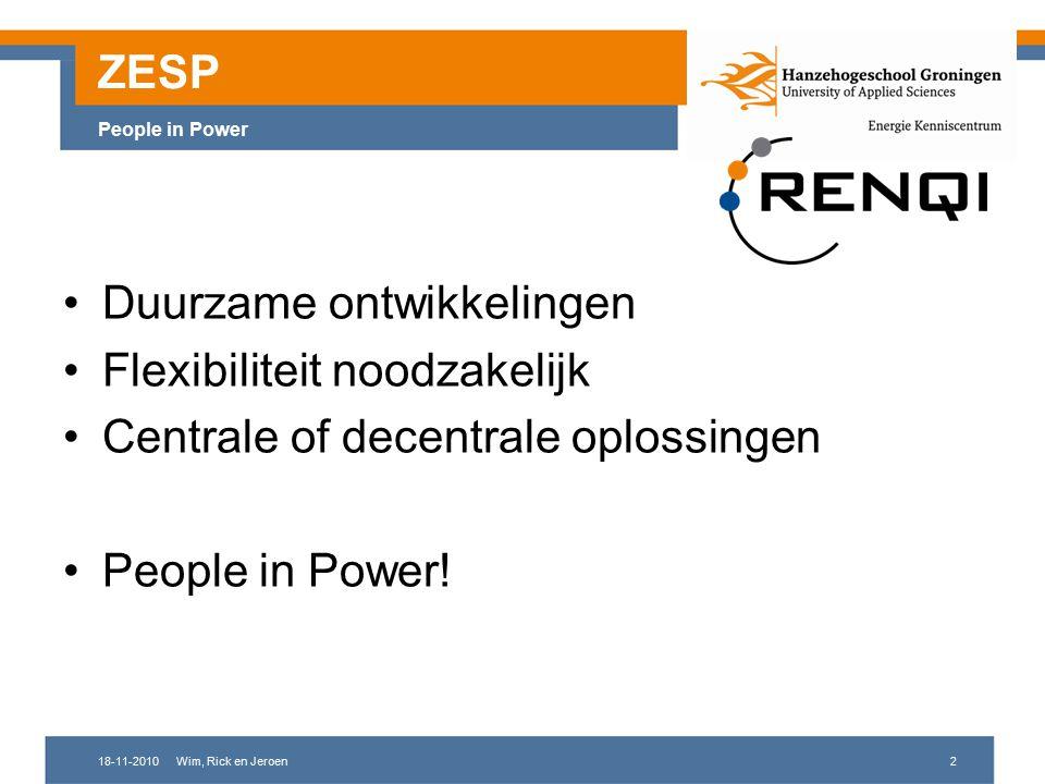 18-11-2010Wim, Rick en Jeroen2 ZESP People in Power Duurzame ontwikkelingen Flexibiliteit noodzakelijk Centrale of decentrale oplossingen People in Power!