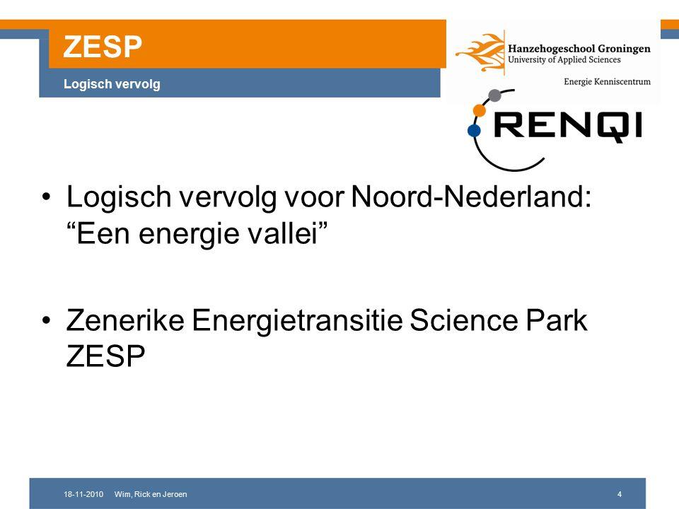 18-11-2010Wim, Rick en Jeroen4 ZESP Logisch vervolg Logisch vervolg voor Noord-Nederland: Een energie vallei Zenerike Energietransitie Science Park ZESP