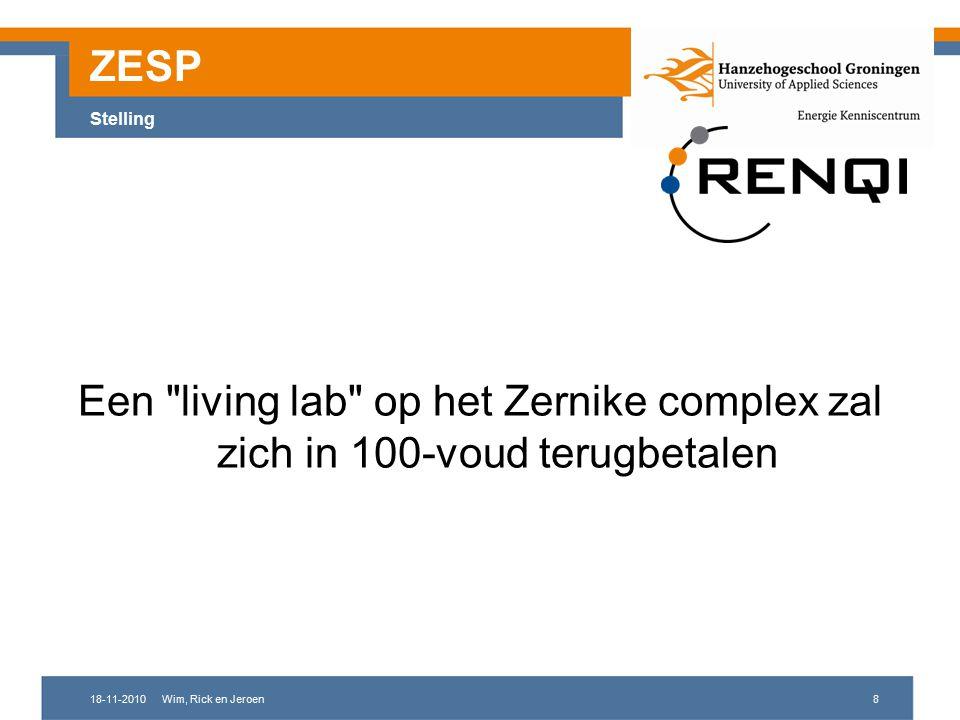 18-11-2010Wim, Rick en Jeroen8 ZESP Stelling Een living lab op het Zernike complex zal zich in 100-voud terugbetalen