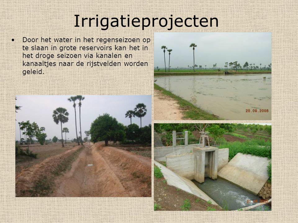 Irrigatieprojecten Door het water in het regenseizoen op te slaan in grote reservoirs kan het in het droge seizoen via kanalen en kanaaltjes naar de rijstvelden worden geleid.