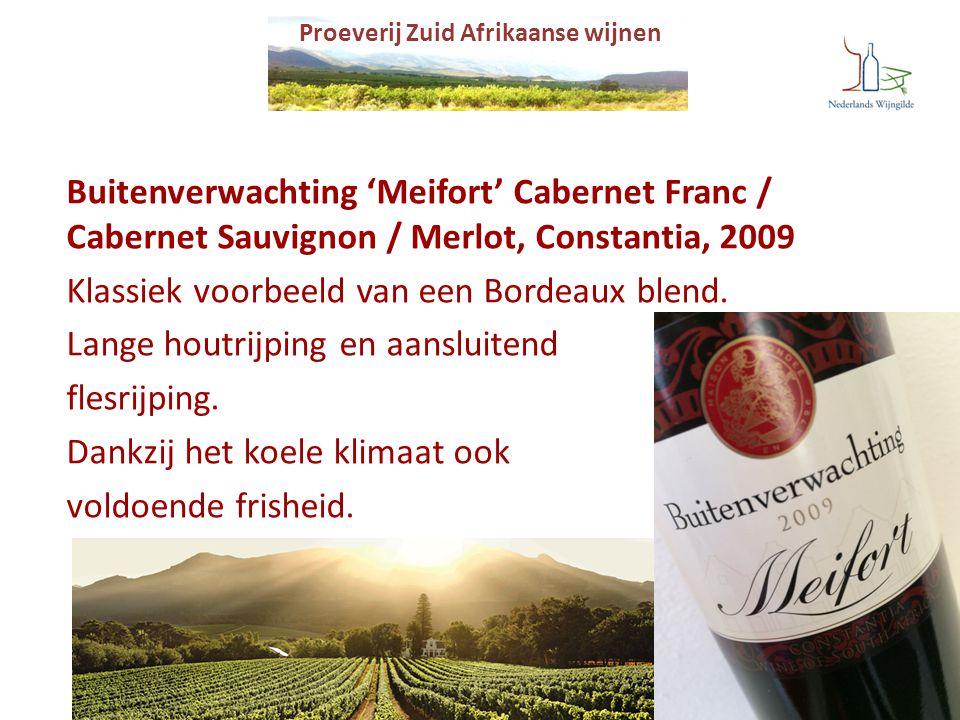 Proeverij Zuid Afrikaanse wijnen Buitenverwachting 'Meifort' Cabernet Franc / Cabernet Sauvignon / Merlot, Constantia, 2009 Klassiek voorbeeld van een
