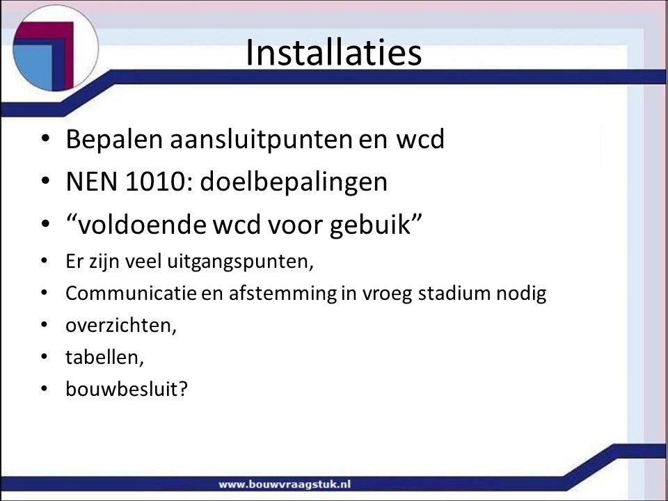 """Installaties Bepalen aansluitpunten en wcd NEN 1010: doelbepalingen """"voldoende wcd voor gebuik"""" Er zijn veel uitgangspunten, Communicatie en afstemmin"""