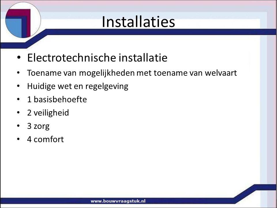 Electrotechnische installatie Toename van mogelijkheden met toename van welvaart Huidige wet en regelgeving 1 basisbehoefte 2 veiligheid 3 zorg 4 comf