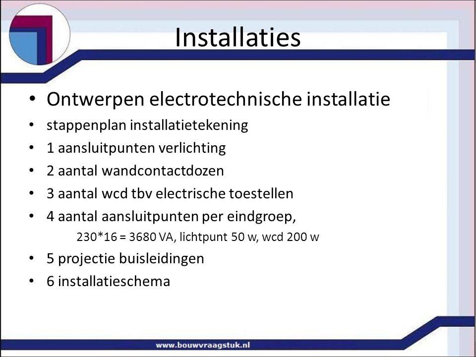 Installaties Ontwerpen electrotechnische installatie stappenplan installatietekening 1 aansluitpunten verlichting 2 aantal wandcontactdozen 3 aantal w