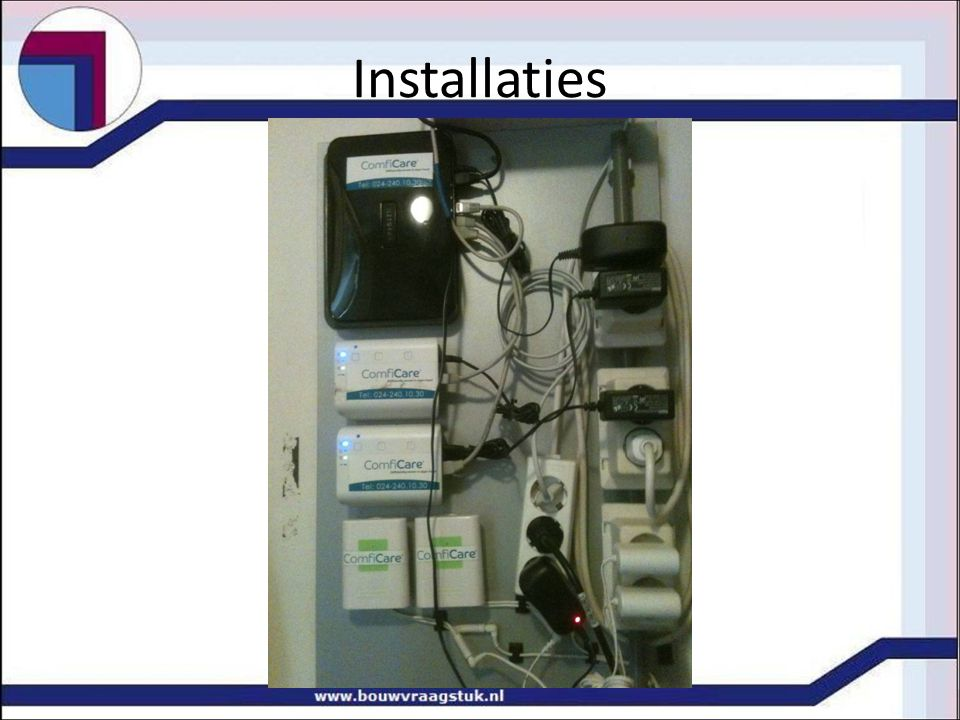 Installaties Centrale computer Onderstations schakel tussen pc en installatie Datanetwerk (draadloos) Domotica met PDA Zonweringsinstallatie Glazenwasserbeveiliging