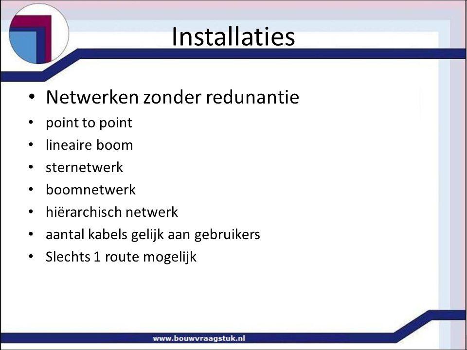 Installaties Netwerken zonder redunantie point to point lineaire boom sternetwerk boomnetwerk hiërarchisch netwerk aantal kabels gelijk aan gebruikers