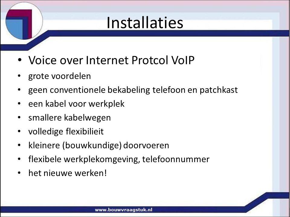 Installaties Voice over Internet Protcol VoIP grote voordelen geen conventionele bekabeling telefoon en patchkast een kabel voor werkplek smallere kab
