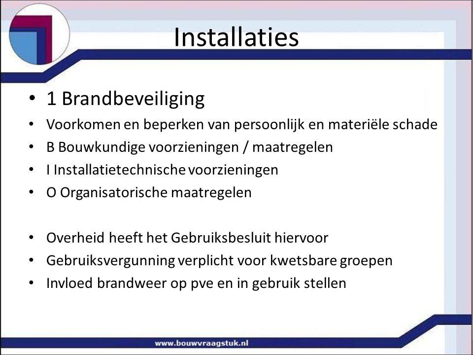 Installaties 1 Brandbeveiliging Voorkomen en beperken van persoonlijk en materiële schade B Bouwkundige voorzieningen / maatregelen I Installatietechn