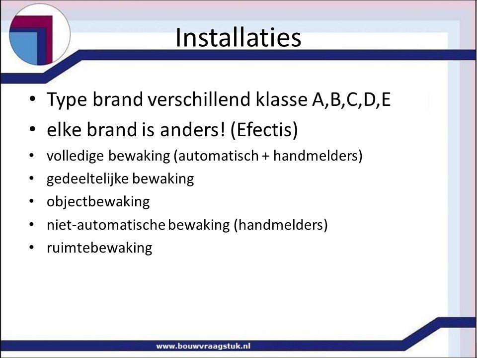 Installaties Type brand verschillend klasse A,B,C,D,E elke brand is anders! (Efectis) volledige bewaking (automatisch + handmelders) gedeeltelijke bew