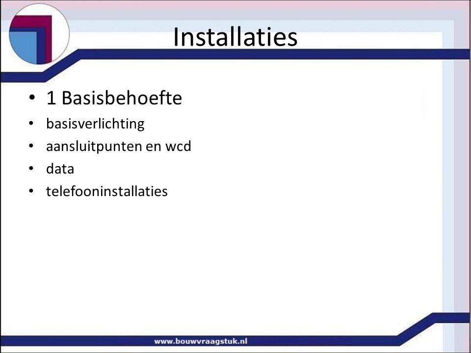 1 Basisbehoefte basisverlichting aansluitpunten en wcd data telefooninstallaties