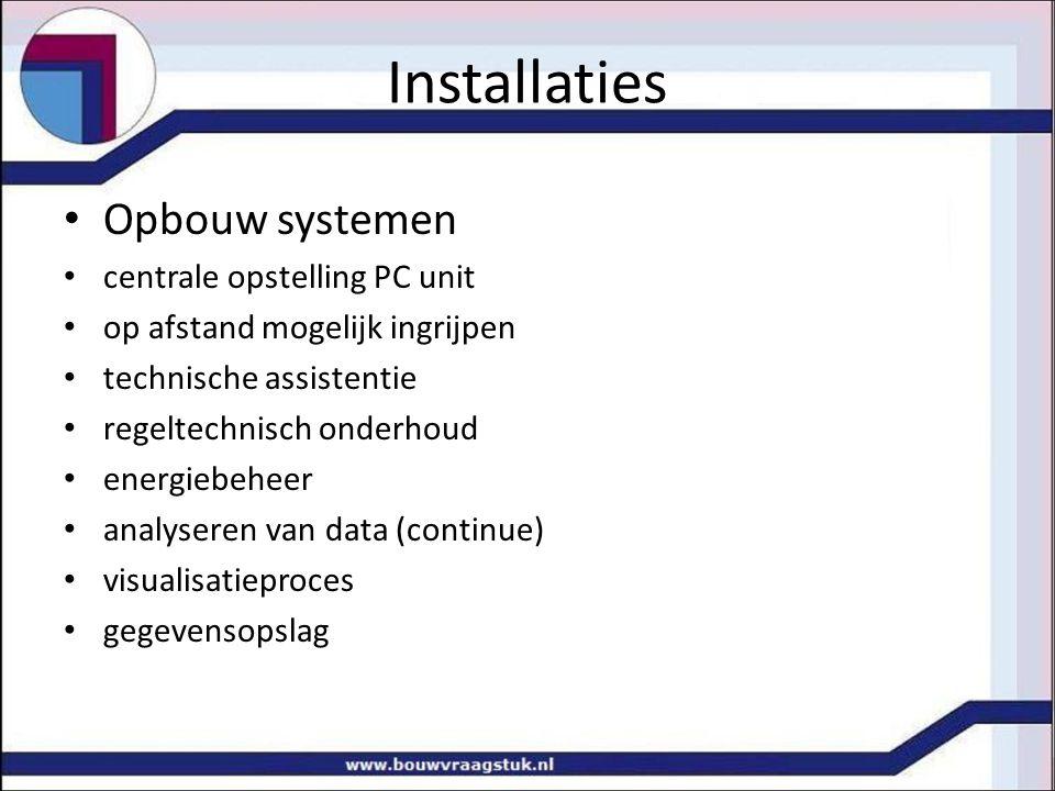 Installaties Opbouw systemen centrale opstelling PC unit op afstand mogelijk ingrijpen technische assistentie regeltechnisch onderhoud energiebeheer a