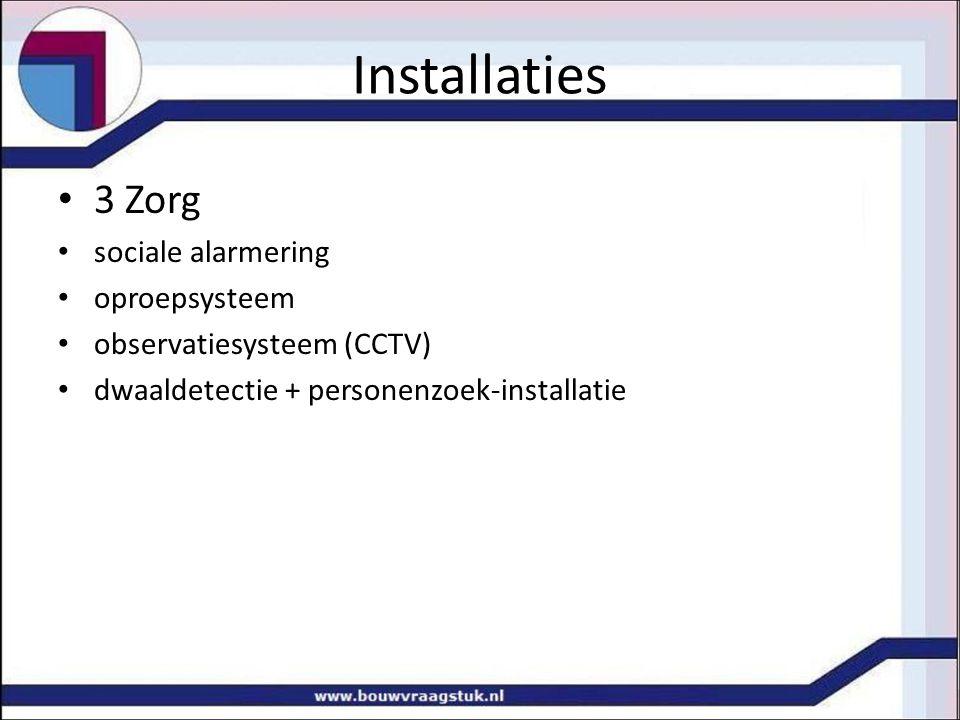 Installaties 3 Zorg sociale alarmering oproepsysteem observatiesysteem (CCTV) dwaaldetectie + personenzoek-installatie