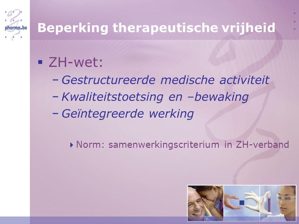 Beperking therapeutische vrijheid  ZH-wet: − Gestructureerde medische activiteit − Kwaliteitstoetsing en –bewaking − Geïntegreerde werking  Norm: samenwerkingscriterium in ZH-verband