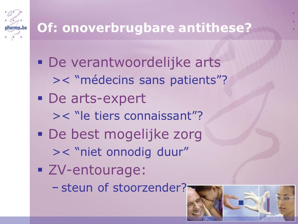Of: onoverbrugbare antithese.  De verantwoordelijke arts >< médecins sans patients .