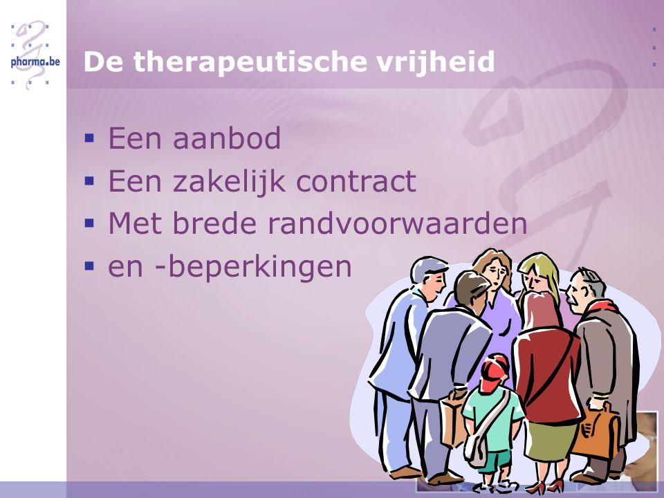 De therapeutische vrijheid  Een aanbod  Een zakelijk contract  Met brede randvoorwaarden  en -beperkingen