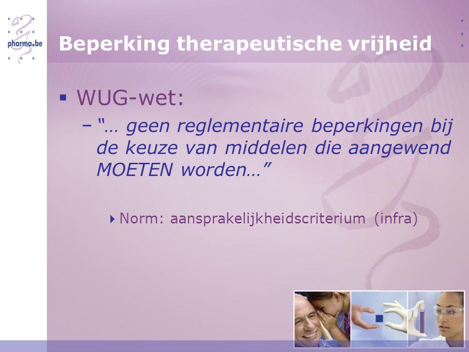 Beperking therapeutische vrijheid  WUG-wet: − … geen reglementaire beperkingen bij de keuze van middelen die aangewend MOETEN worden…  Norm: aansprakelijkheidscriterium (infra)