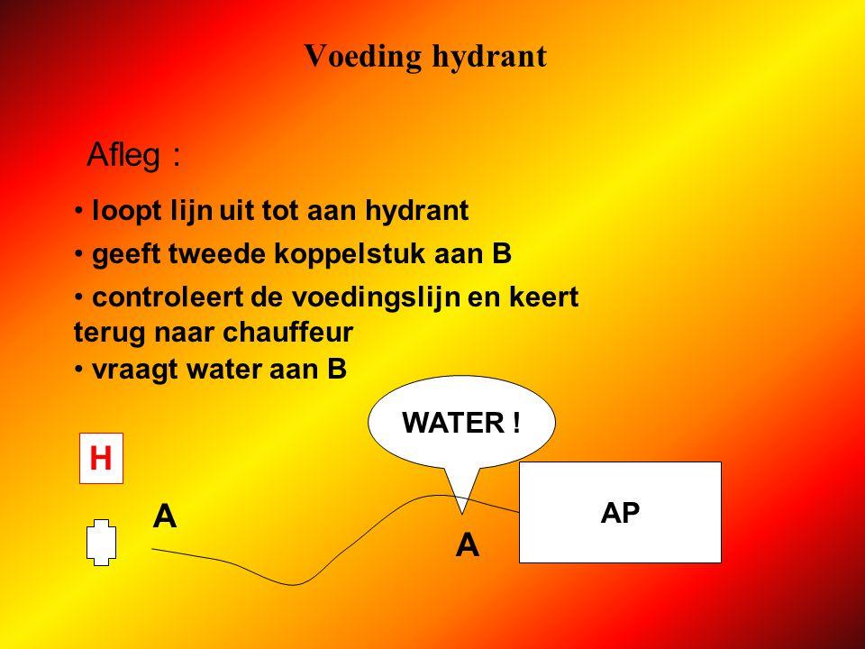 Voeding hydrant H A geeft koppelstuk aan chauffeur Afleg : gooit slang richting hydrant VOEDING .