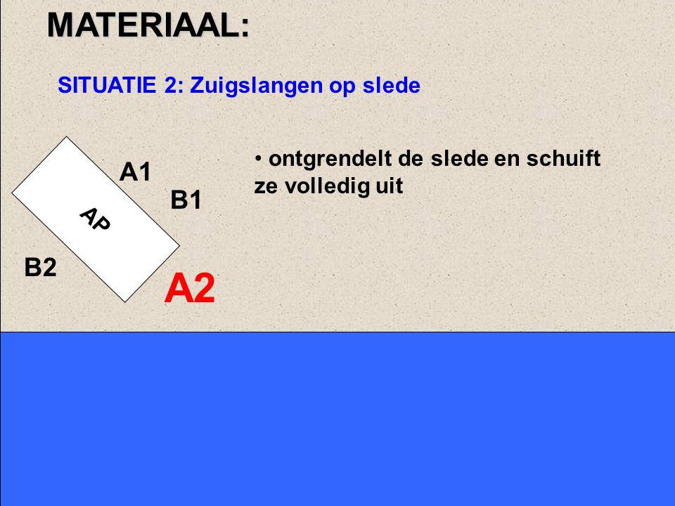 AP A1 A2 B1MATERIAAL: SITUATIE 1: Zuigslangen op dak van voertuig neemt een zuigslang aan en legt deze neer, beginnend met zuigslang 1, het verst verwijderd van de pomp neemt sleutel Ø 110-70.