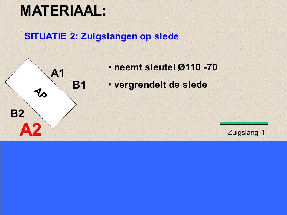 AP A1 B1MATERIAAL: SITUATIE 2: Zuigslangen op slede nemen de zuigslangen en leggen ze neer, beginnend met zuigslang 1, het verst verwijderd van de pomp A2 B2 Zuigslang 1