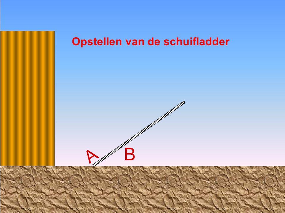 B tilt de bovenkant van de schuifladder op en richt de ladder op tot evenwichtsstand (90°) B A Opstellen van de schuifladder