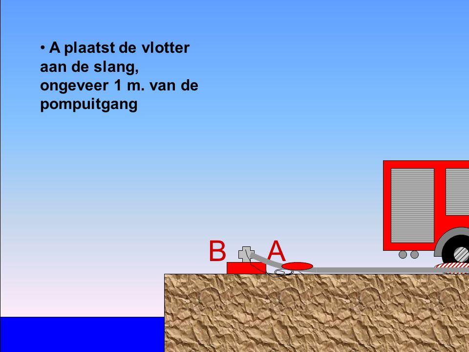 A B neemt een persslang Ø 70 en rolt ze uit A koppelt het aangeboden koppelstuk op de vlottende pomp B B loopt de slang verder uit