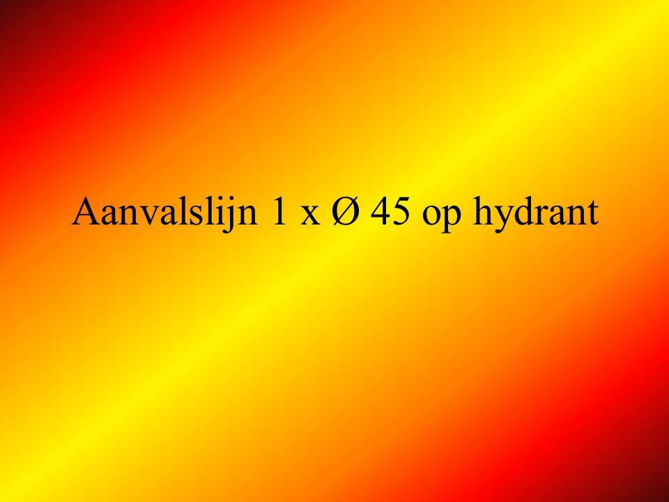 Aanvalslijn Ø 45 op autoladder AP AL Afleg fase 2 : koppelt korte slang Ø 45 bovenaan stijgleiding neemt plaats in kooi en beveiligt zichzelf in aanvalspositie en vraagt water aan A C GORDEL !.