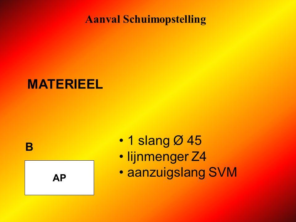 Aanval Schuimopstelling AP A 1 slang Ø 70 1 verdeelstuk 1 overgangstuk Ø 70/45 MATERIEEL