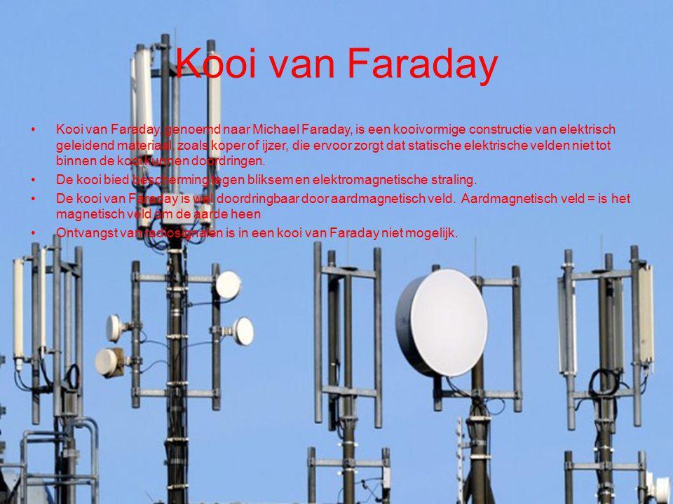 Kooi van Faraday Kooi van Faraday, genoemd naar Michael Faraday, is een kooivormige constructie van elektrisch geleidend materiaal, zoals koper of ijz