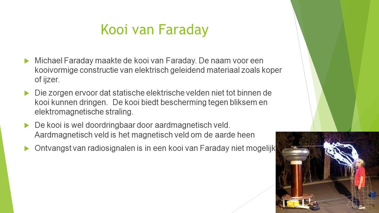 Kooi van Faraday  Michael Faraday maakte de kooi van Faraday. De naam voor een kooivormige constructie van elektrisch geleidend materiaal zoals koper
