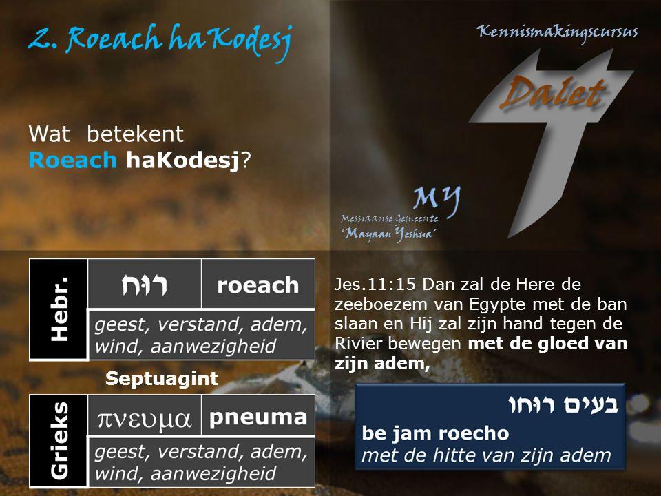 Wat betekent Roeach haKodesj? Jes.11:15 Dan zal de Here de zeeboezem van Egypte met de ban slaan en Hij zal zijn hand tegen de Rivier bewegen met de g
