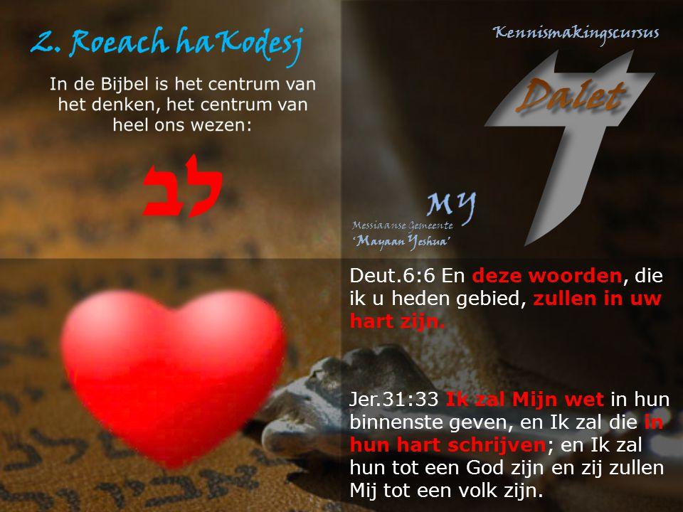 Deut.6:6 En deze woorden, die ik u heden gebied, zullen in uw hart zijn. Jer.31:33 Ik zal Mijn wet in hun binnenste geven, en Ik zal die in hun hart s