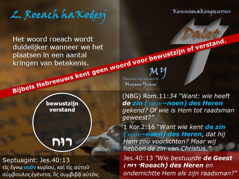 Bijbels Hebreeuws kent geen woord voor bewustzijn of verstand. bewustzijn verstand bewustzijn verstand Het woord roeach wordt duidelijker wanneer we h