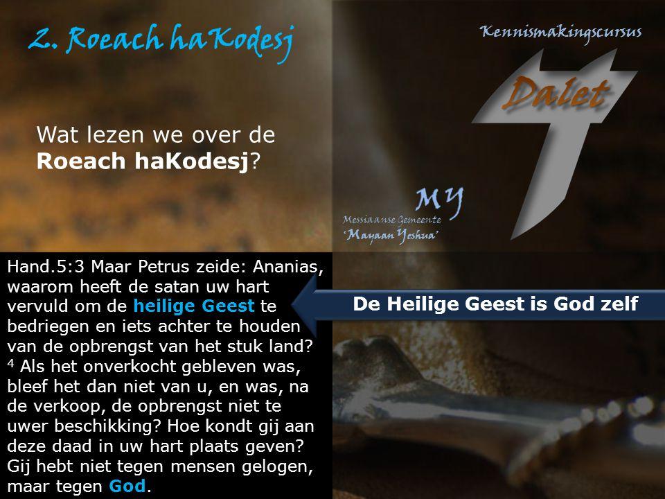 Wat lezen we over de Roeach haKodesj? Hand.5:3 Maar Petrus zeide: Ananias, waarom heeft de satan uw hart vervuld om de heilige Geest te bedriegen en i