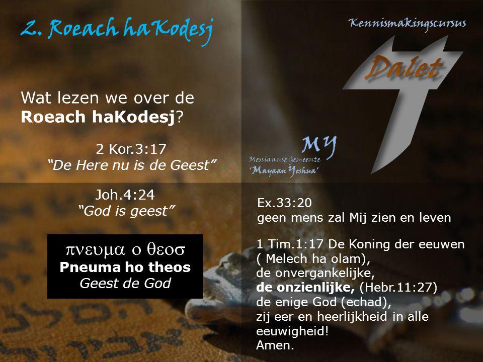 """Wat lezen we over de Roeach haKodesj? Joh.4:24 """"God is geest""""  Pneuma ho theos Geest de God 1 Tim.1:17 De Koning der eeuwen ( Melech ha ol"""