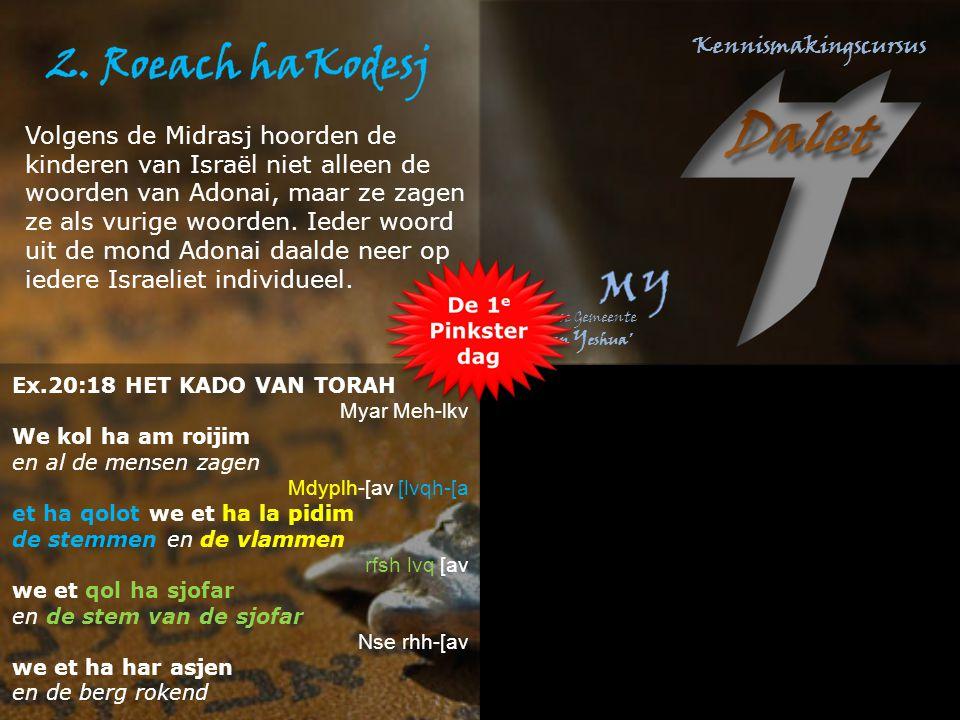 Ex.20:18 HET KADO VAN TORAH Myar Meh-lkv We kol ha am roijim en al de mensen zagen Mdyplh-[av [lvqh-[a et ha qolot we et ha la pidim de stemmen en de