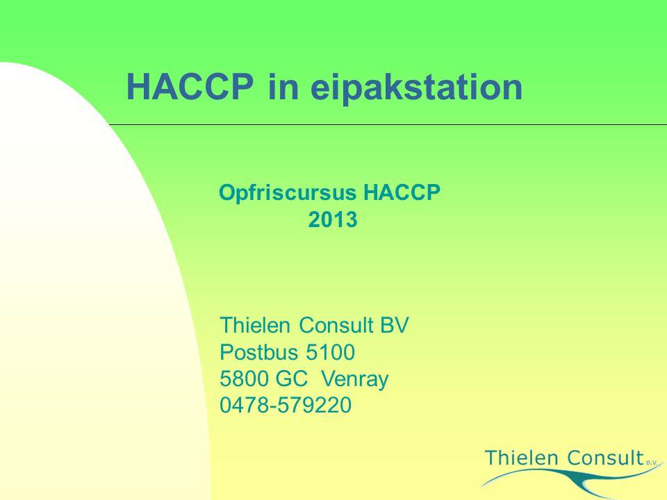 HACCP in eipakstation Opfriscursus HACCP 2013 Thielen Consult BV Postbus 5100 5800 GC Venray 0478-579220