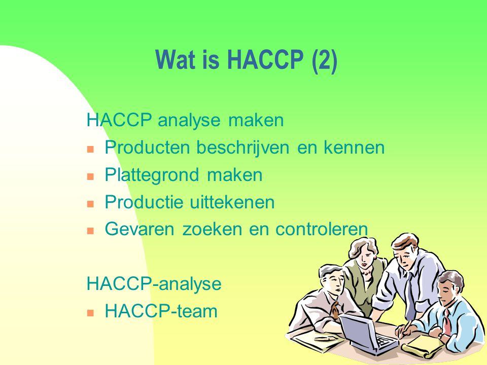 Wat is HACCP (2) HACCP analyse maken Producten beschrijven en kennen Plattegrond maken Productie uittekenen Gevaren zoeken en controleren HACCP-analyse HACCP-team