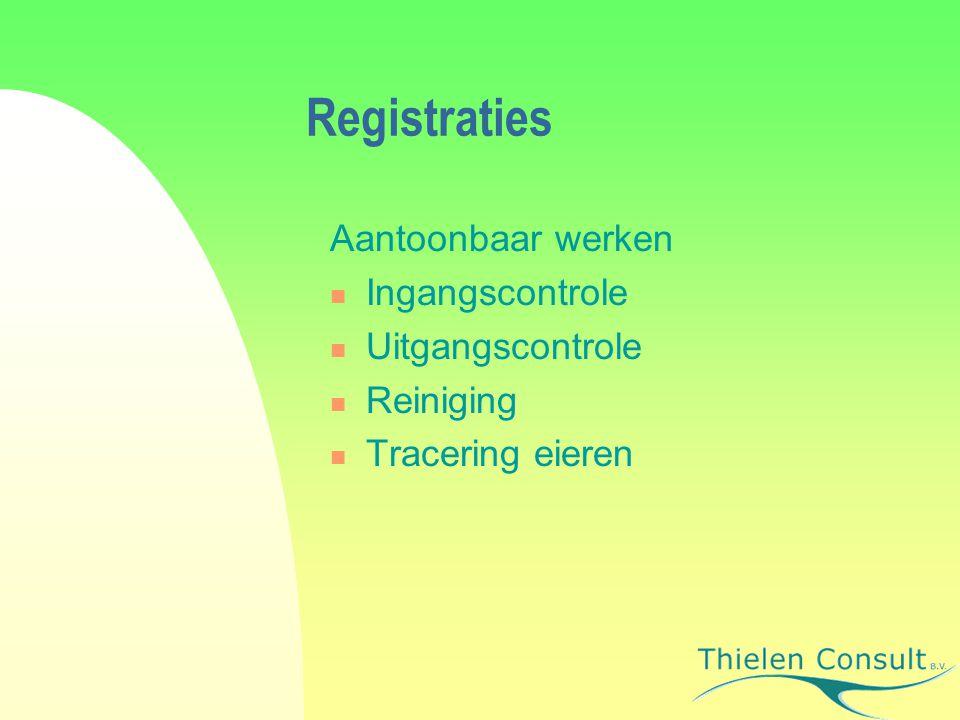 Registraties Aantoonbaar werken Ingangscontrole Uitgangscontrole Reiniging Tracering eieren