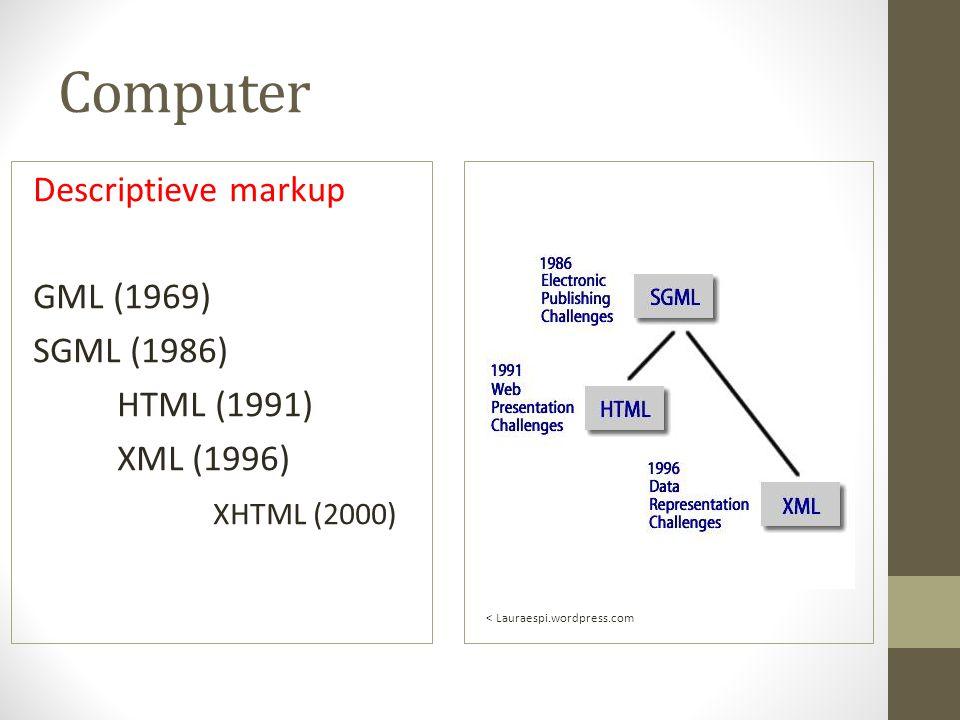 Computer Descriptieve markup GML (1969) SGML (1986) HTML (1991) XML (1996) XHTML (2000) L < Lauraespi.wordpress.com