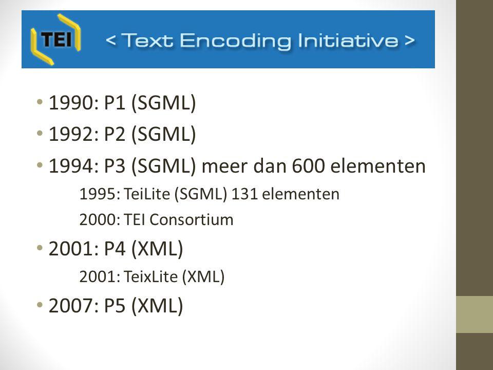 1990: P1 (SGML) 1992: P2 (SGML) 1994: P3 (SGML) meer dan 600 elementen 1995: TeiLite (SGML) 131 elementen 2000: TEI Consortium 2001: P4 (XML) 2001: TeixLite (XML) 2007: P5 (XML)