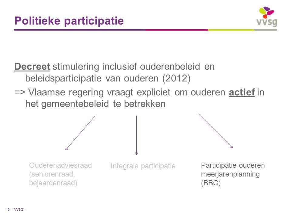 VVSG - Politieke participatie Decreet stimulering inclusief ouderenbeleid en beleidsparticipatie van ouderen (2012) => Vlaamse regering vraagt expliciet om ouderen actief in het gemeentebeleid te betrekken 13 - Ouderenadviesraad (seniorenraad, bejaardenraad) Integrale participatie Participatie ouderen meerjarenplanning (BBC)