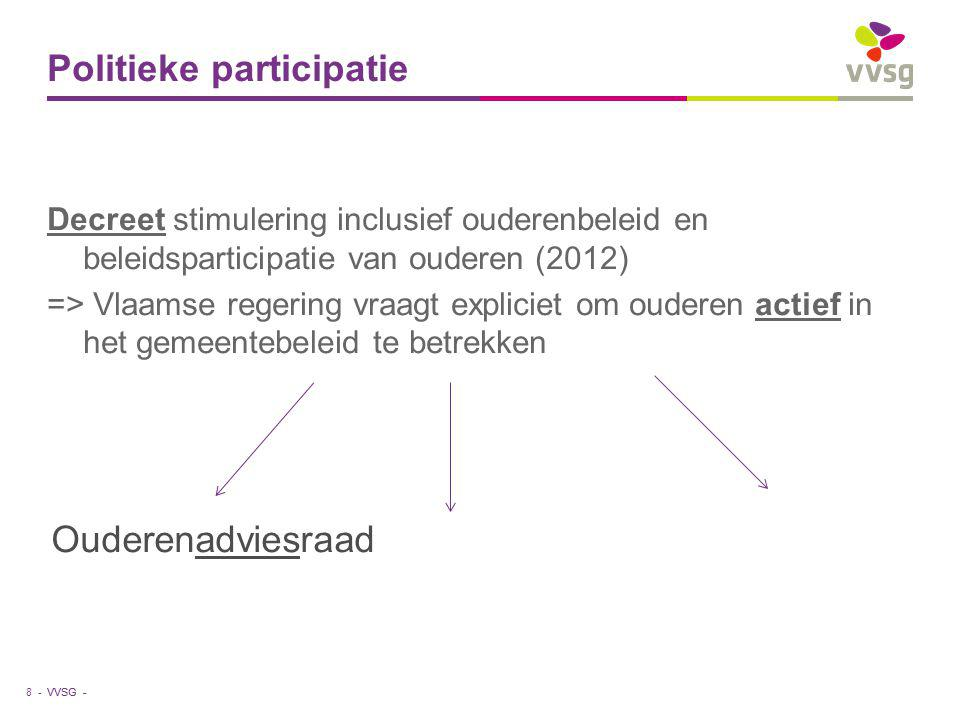 VVSG - Politieke participatie Decreet stimulering inclusief ouderenbeleid en beleidsparticipatie van ouderen (2012) => Vlaamse regering vraagt expliciet om ouderen actief in het gemeentebeleid te betrekken 8 - Ouderenadviesraad