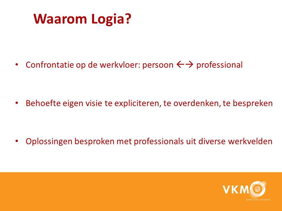 Waarom Logia? Confrontatie op de werkvloer: persoon  professional Behoefte eigen visie te expliciteren, te overdenken, te bespreken Oplossingen besp