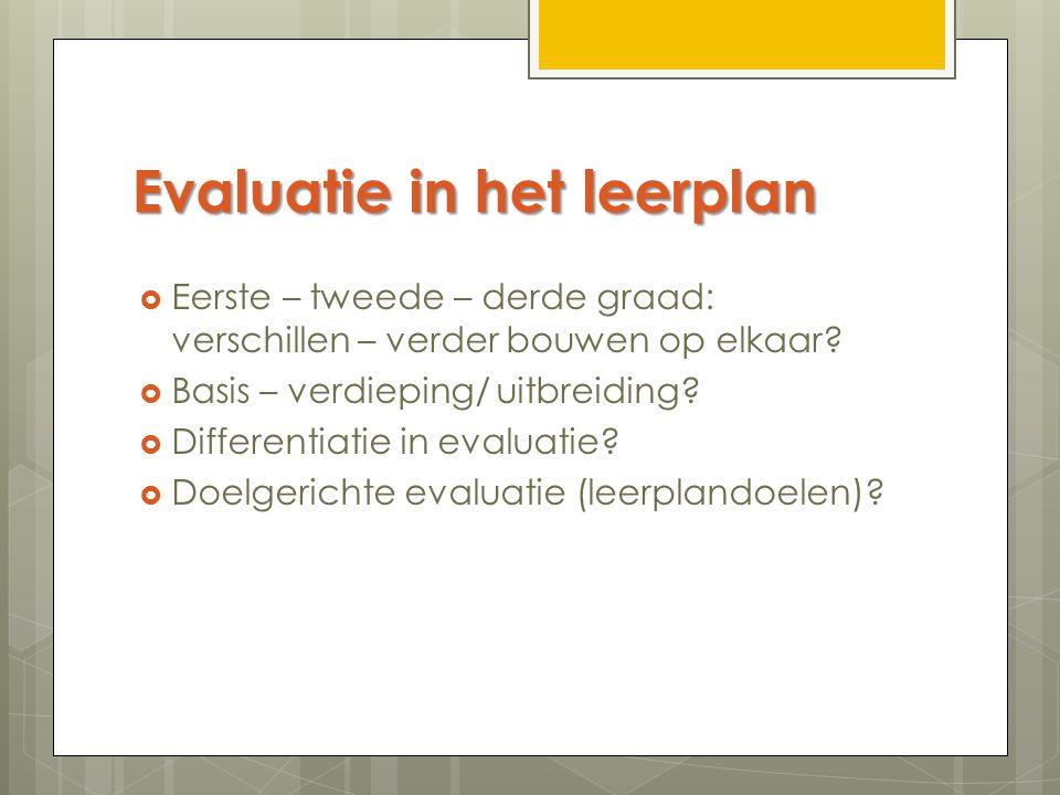 Evaluatie in het leerplan  Eerste – tweede – derde graad: verschillen – verder bouwen op elkaar?  Basis – verdieping/ uitbreiding?  Differentiatie