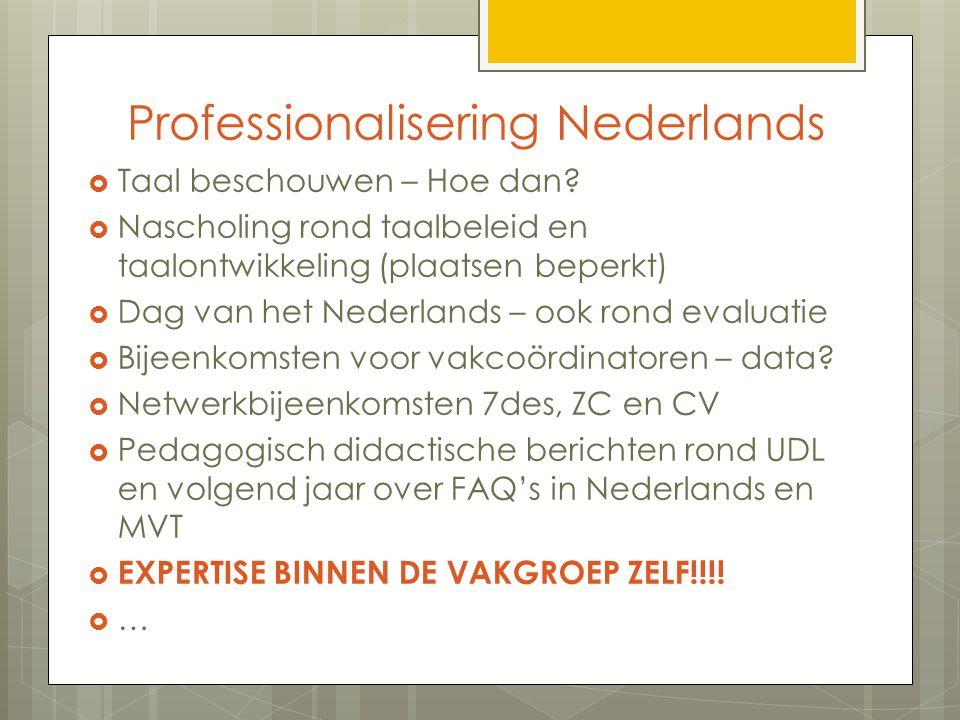 Professionalisering Nederlands  Taal beschouwen – Hoe dan?  Nascholing rond taalbeleid en taalontwikkeling (plaatsen beperkt)  Dag van het Nederlan