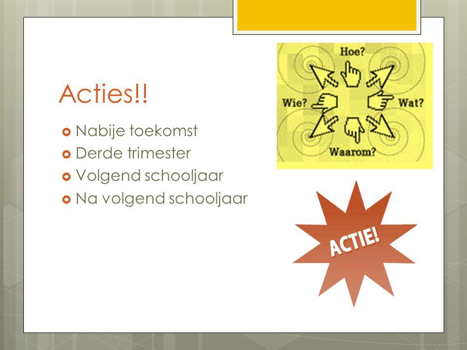 Acties!!  Nabije toekomst  Derde trimester  Volgend schooljaar  Na volgend schooljaar